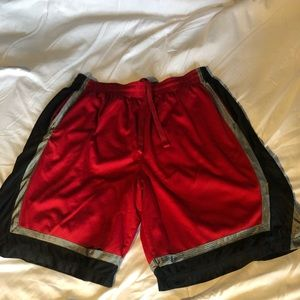 Red and Black Finish Line Basketball 2x shorts